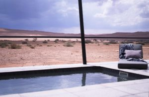 Pebble style pool at Dessert Grace Lodge